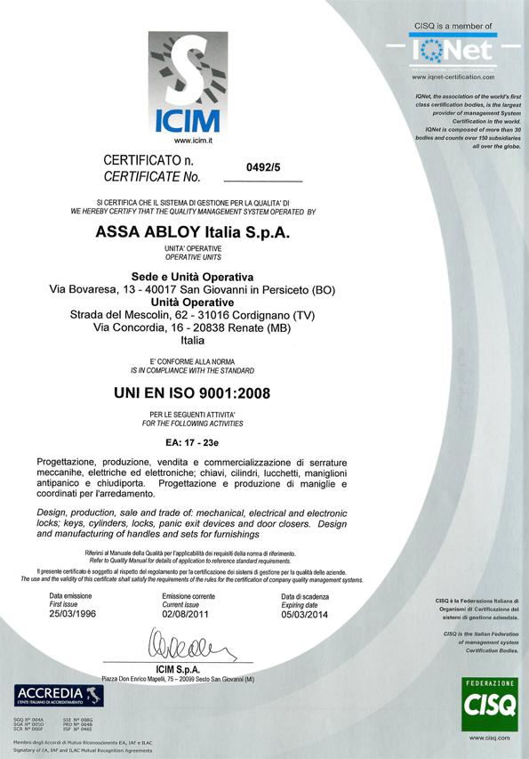 Сертификат качества Valli & Valli